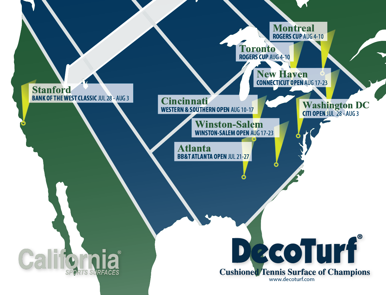 The Emirates Airline Us Open Series California Sports Surfaces - Us-open-court-map